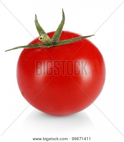 Single cherry tomato isolated on white
