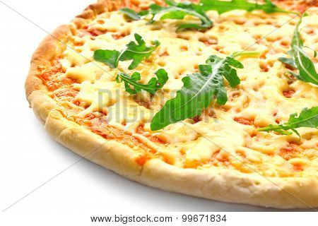 Cheese pizza with arugula close up