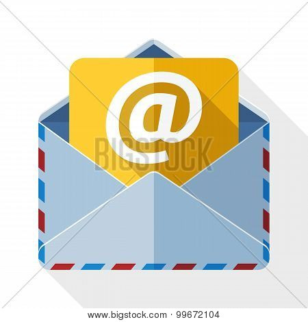 E-mail Icon With Long Shadow On White Background