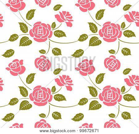 Vintage vector pink roses seamless pattern