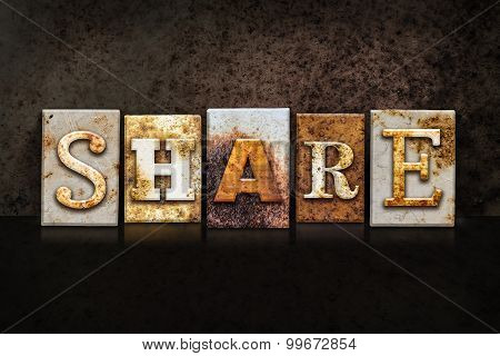 Share Letterpress Concept On Dark Background