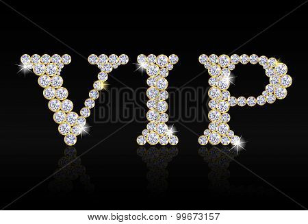 Vip Tag Composed From Diamonds