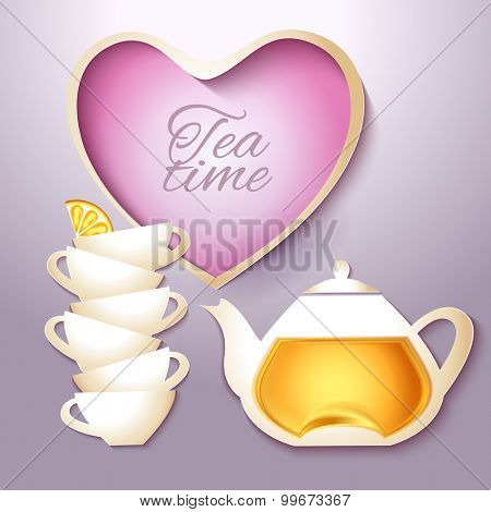 Cup of tea and pot vintage style card