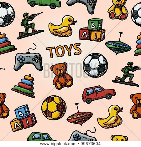 Seamless toys handdrawn pattern with - car, duck, bear, pyramid, ball, game controller, blocks, whir