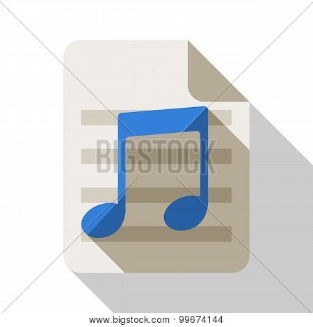 Music Note Flat Icon With Long Shadow On White Background