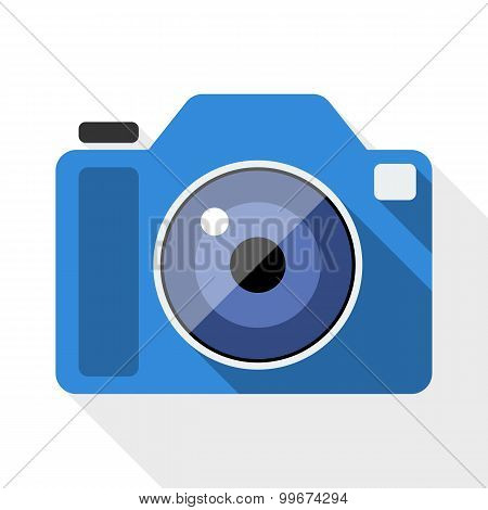 Photo Camera Flat Icon With Long Shadow On White Background