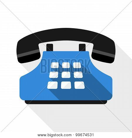 Push-button Telephone Flat Icon With Long Shadow On White Background