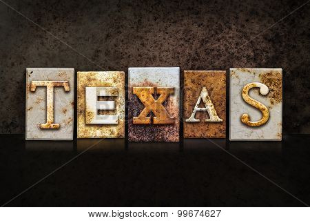 Texas Letterpress Concept On Dark Background