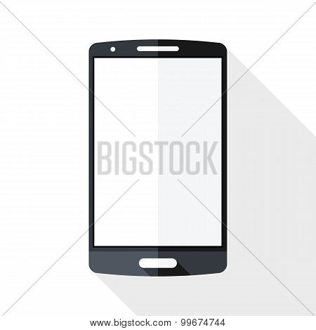 Smart Phone Icon With Long Shadow On White Background