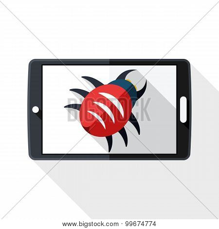 Tablet Icon Infected By Malware With Long Shadow On White Background