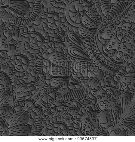 Mehndi 3d imitation pattern. Paisley, winding stem, spiral, wave, bud mehndi doodle. Gray photoreali
