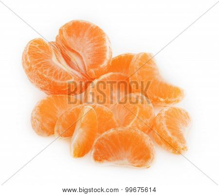 Peeled Tangerine Or Mandarin Fruit  On White Background