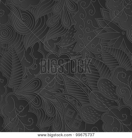Seamless mehndi 3d imitation pattern. Paisley, winding stem, spiral, wave, bud mehndi doodle. Gray p