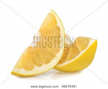 Pomelo Or Chinese Grapefruit Slices Isolated On The White Background