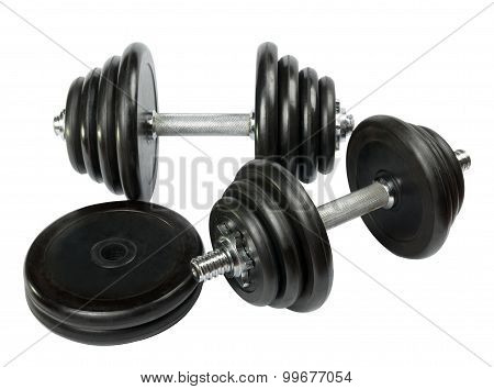 Exercise Hand Weights Isolated On A White Background