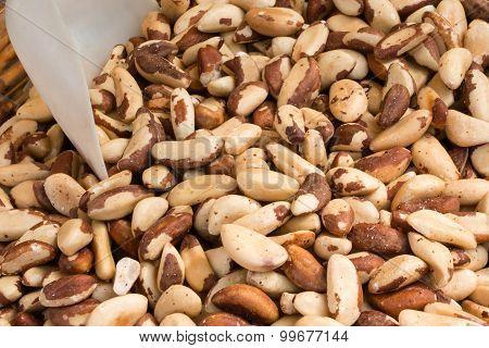 Closeup Of Crunchy Brazil Nuts In Wicker Bowl