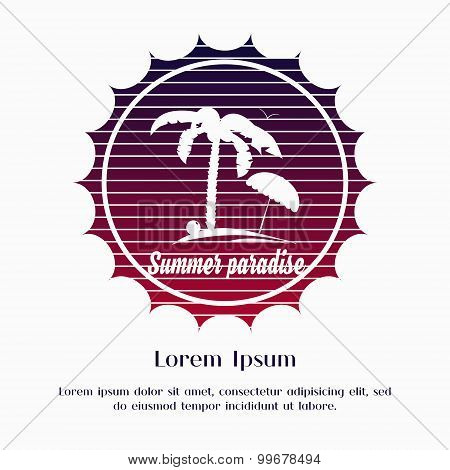 Logo summer tropical sunset and palm tree