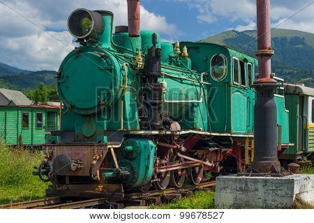 Old steam powered railway train.