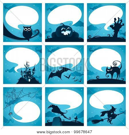 Collection of halloween elements with speech bubbles
