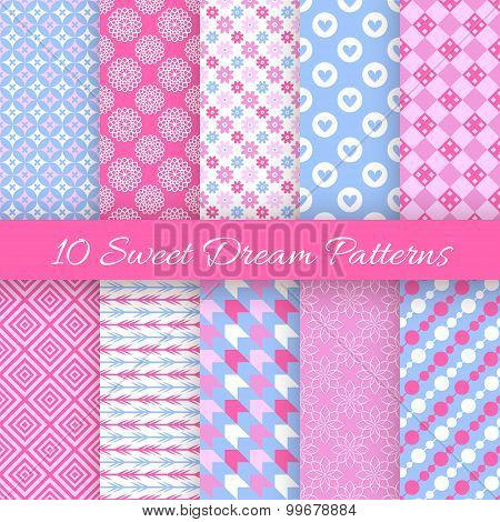 Sweet dream seamless patterns. Vector illustration