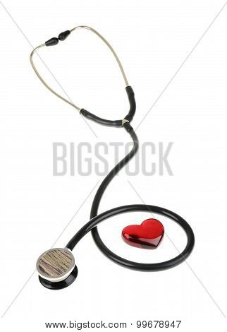 Red Heart And A Stethoscope, Isolated On White Background