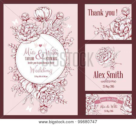 Vector Floral Frame Set for invitations or announcements with hand drawn luxurious peonies on pink background and space for your text. Easy to edit.