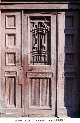Old wooden door close up