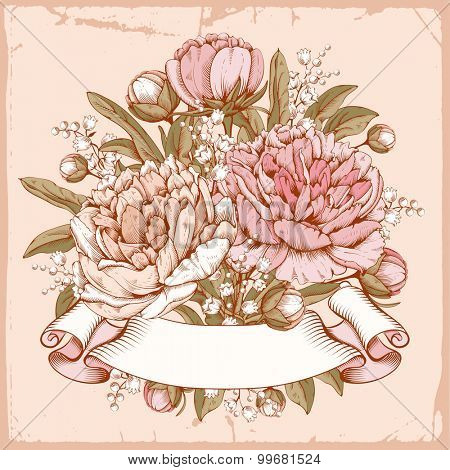 Vintage luxury card with detailed hand drawn flowers - blooming peonies and retro styled twisted ribbon with space for your text. Vector. Easy to edit.