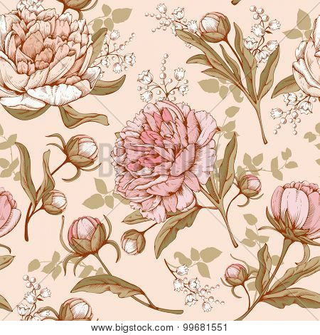Vintage luxury seamless pattern with detailed hand drawn flowers - blooming peony. Vector. Easy to edit.