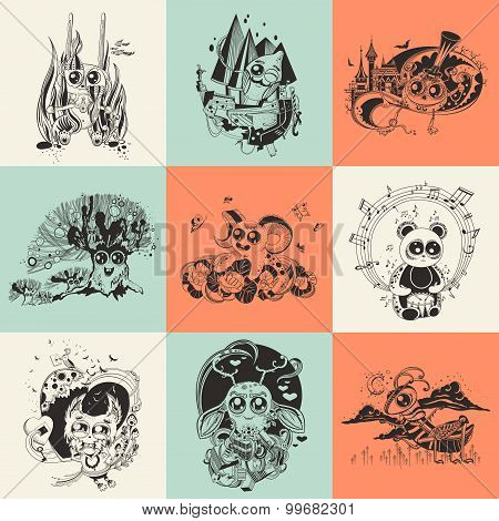 Set of nine illustrations with hand drawn fantastic creatures cartoonish.