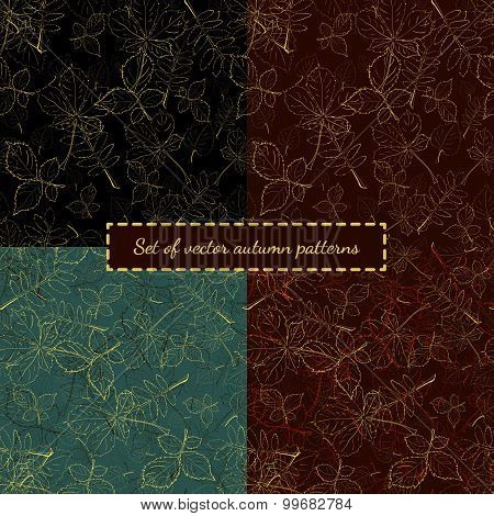 Set of ornate abstract hand drawn seamless texture with autumne leaves of birch, chestnut, ash and r
