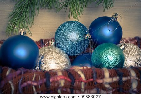 Christmas Blue Balls In The Basket