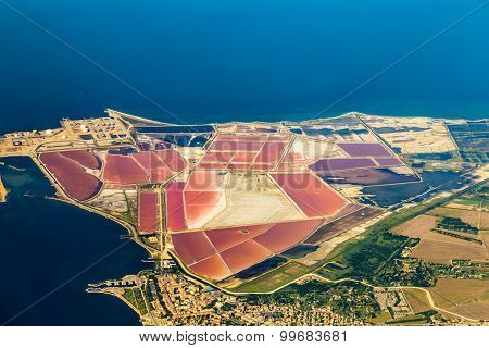 Aerial Of Salines In France With Oil Tanks
