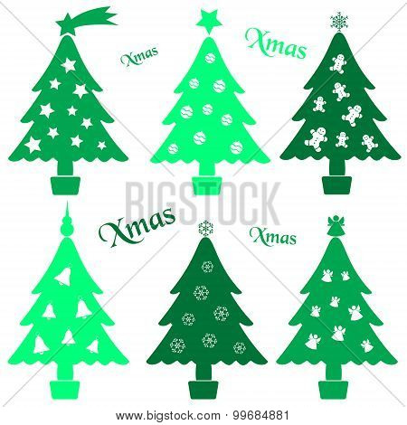 Set Of Christmas Green Tree Decoration Collection Eps10