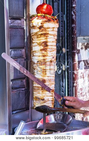 Shawarma cook prepares in the open air in Istanbul