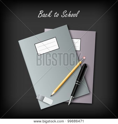 Back To School With Workbooks And Supplies Template