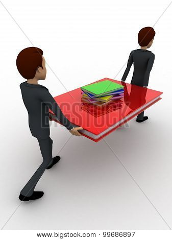 3D Two Men Carry Big Book With Small Books Concept