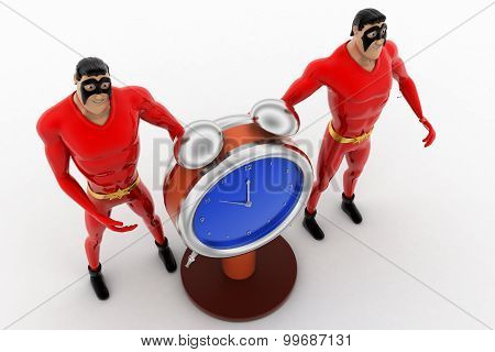 3D Superhero  With Stop Watch Concept