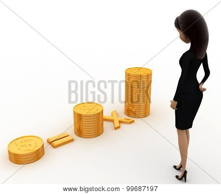 3D Woman With Pile Of Coins Concept