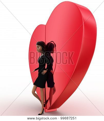 3D Woman With Connected Heart Concept
