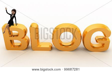 3D Woman Sitting On Blog Text Concepts