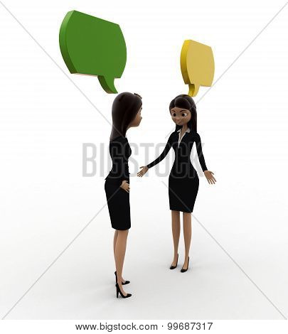 3D Woman Talking With Chat Bubble Concept