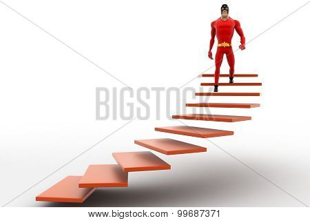 3D Superhero  Going Down From Stairs Concept