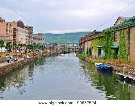 canal of Otaru in Hokkaido, Japan.