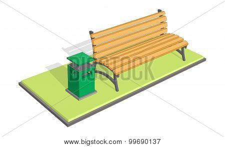 Bench in the park with litter bin - trash metal tank. A bench on