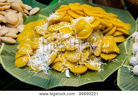 Palm Sugar Pudding Or Toddy Palm Cake With Coconut
