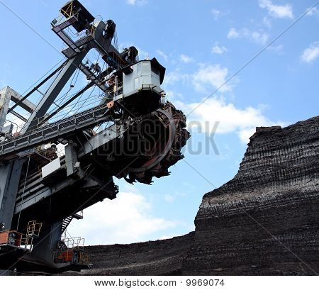 Coal Mining With Big Excavator In Action