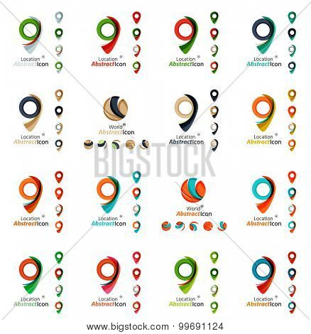 Set of map tag logo icons. Business, app, web design symbol template