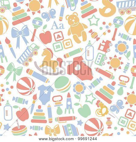 seamless pattern with baby icons. isolated on white