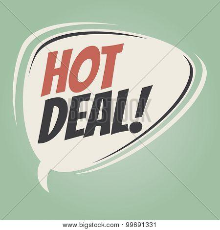 hot deal retro speech bubble